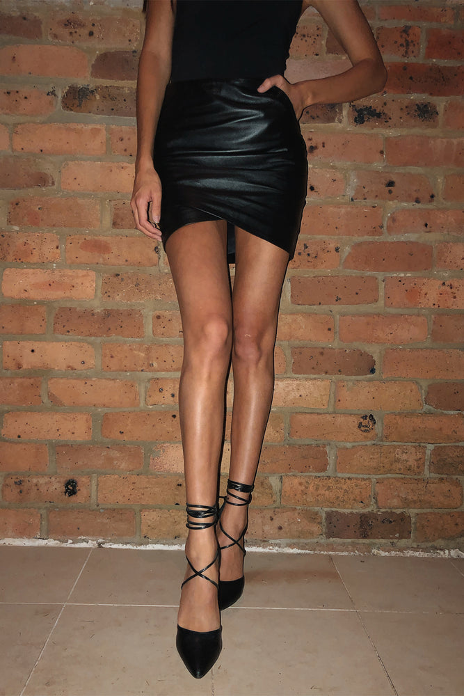 42.5 Curve Leather Mini Skirt - Taupe - PRE-ORDER - $290