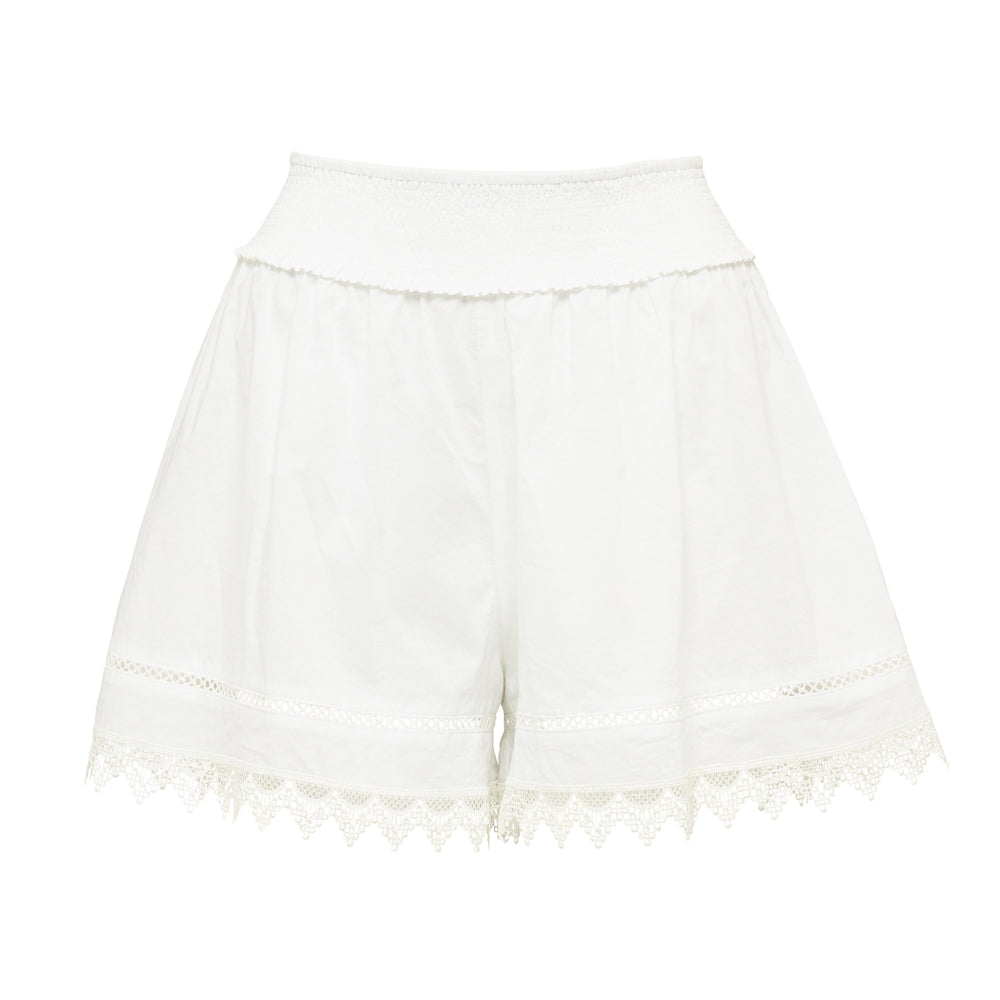 Cotton Voile Shirred Shorts - WHITE - AUSTRALIA DAY SALE - NOW ONLY $49 - ONE Size