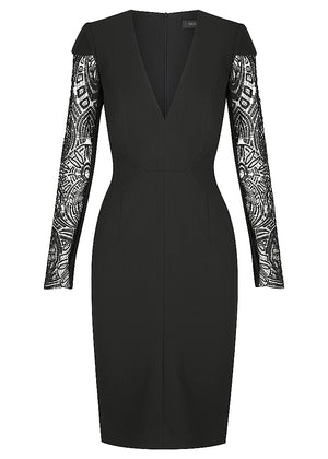 PARISIAN LACE SLEEVE CREPE DRESS - BLACK - SPRING INTO IT SALE - 1 X SIZE 10 & 1 X SIZE 12LEFT - NOW $199