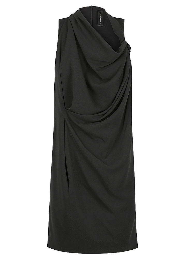 DRAPE & TUCK DRESS - BLACK - FLASH SALE - 1 X SIZE 12 LEFT - NOW ONLY $129
