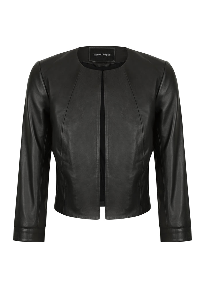 Cropped Leather Jacket 3|4 Sleeve - BACK IN STOCK - Extra $50 Off Use Code LEATHER50