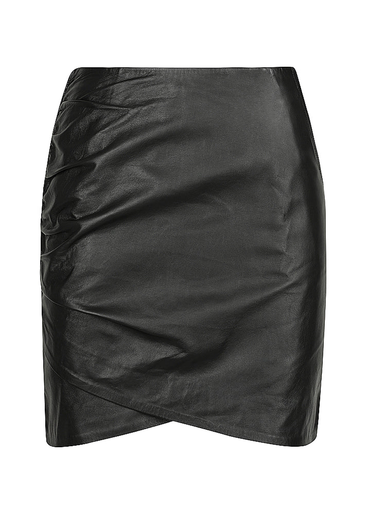 Classic Curve Leather Mini Skirt - Black - Our longer Mini - BEST SELLER - $299