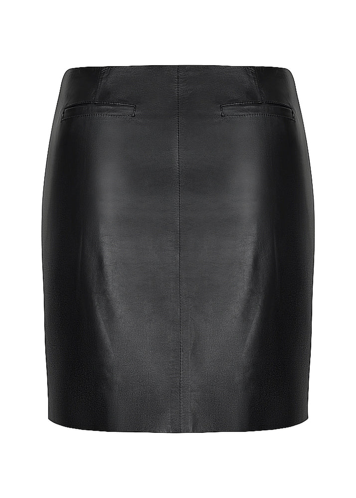 Classic Curve Leather Mini Skirt - Black - Our longer Mini - BEST SELLER - $290