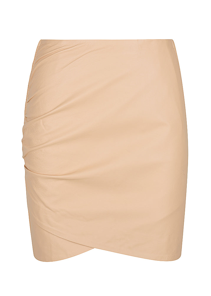 42.5 Curve Leather Mini Skirt - Nude - PRE-ORDER -$290