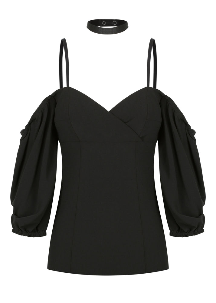 Bonjour Shoulder Top - Black - SALE