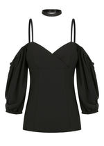 Shoulder Top - Black - SPRING INTO IT SALE- NOW ONLY $89