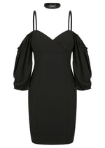 Paris Shoulder Mini Dress - Black - WAREHOUSE SALE - ONLY $49