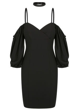 Paris Shoulder Mini Dress - Black - WAREHOUSE SALE - ONLY $50