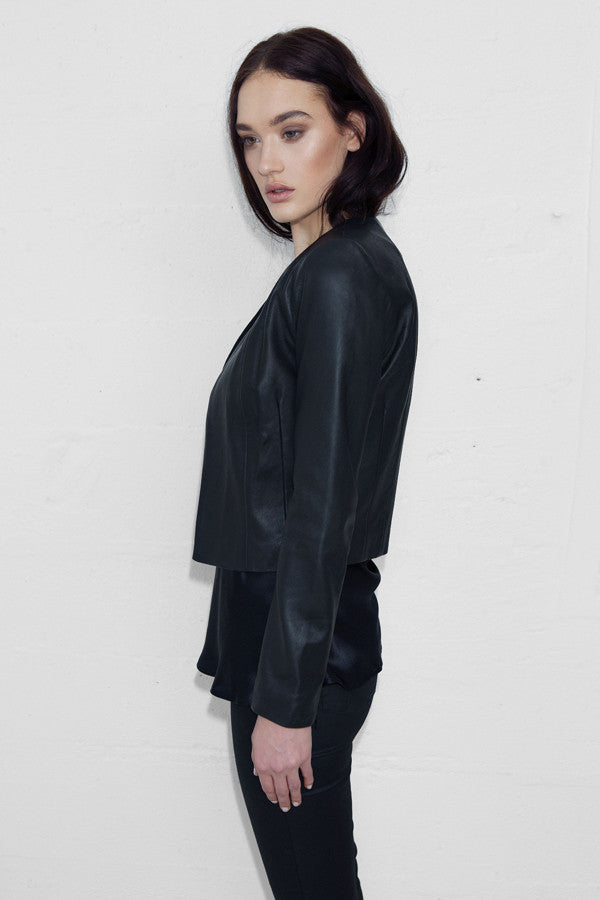 L/S Cropped Leather Jacket with Zips