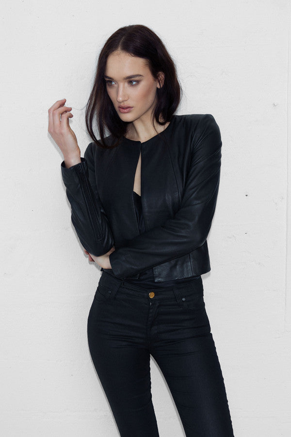 L/S Cropped Leather Jacket with Zips - NEW ARRIVAL - BACK IN STOCK