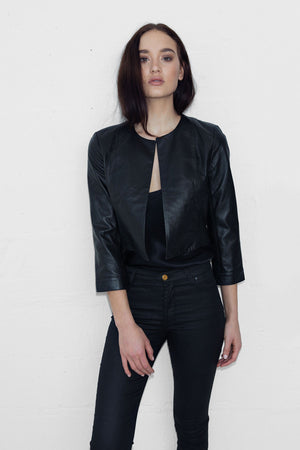 Cropped Leather Jacket 3|4 Sleeve - ALMOST SOLD OUT - SIZE 6 & 12 AVAILABLE SIZE 8 & 10 PRE-ORDER