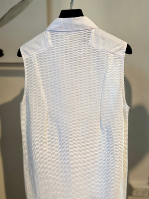 ARCHIVE SAMPLE - Sleeveless Longline Texture shirt - White - Archive Sample - Small