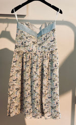 ARCHIVE SAMPLE - Strapless Chambray Dress with Silk Floral Skirt - One Size 8