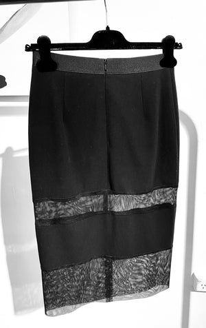 ARCHIVE SAMPLE - Stretch Mesh Panel Skirt - Black - 1 ONLY - Size S