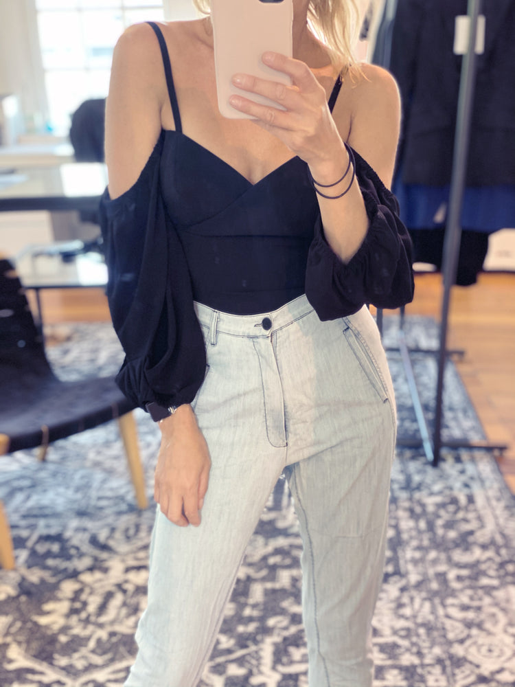 Bonjour Shoulder Top - Black - WAREHOUSE SALE