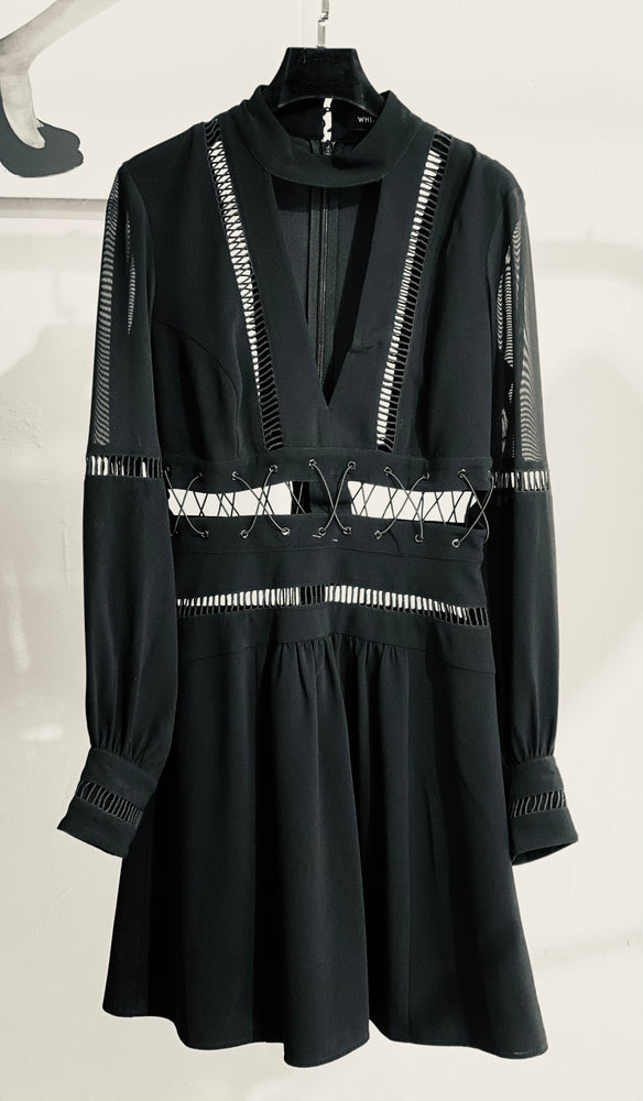 ARCHIVE SAMPLE - Lattice Dress with hand thread detail. - Black - Only 1 Size 10