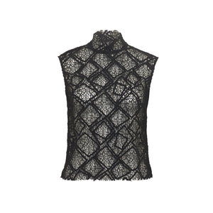 ARCHIVE SAMPLE - Sheer Lace top - Cropped - Black - 1 x Size S