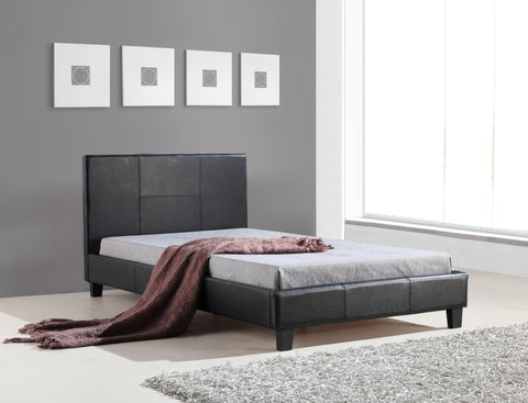 Palermo King Single Bed with PU Leather - Black