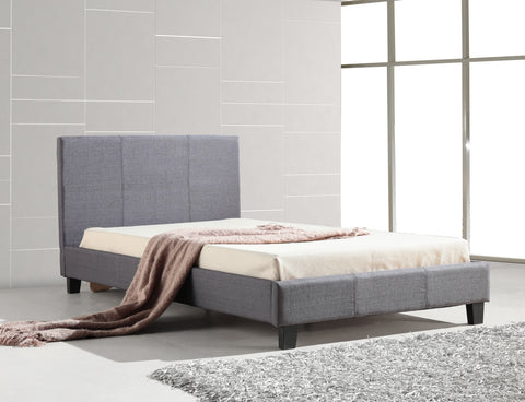 Palermo King Single Bed with Linen Fabric - Grey