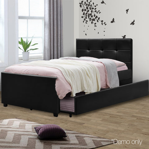 King Single PVC Leather Bed Frame Black