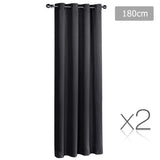 Set of 2 ArtQueen 3 Pass Eyelet Blockout Curtain Black 180cm