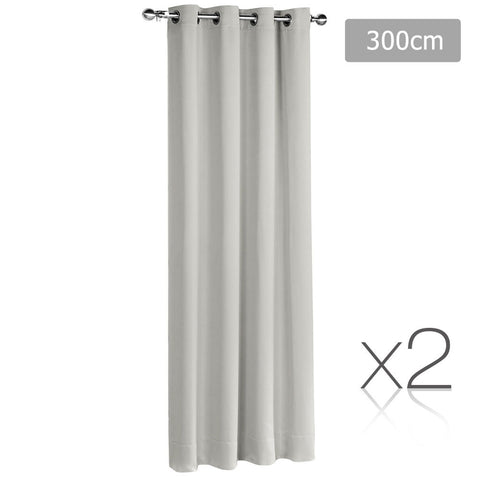 Set of 2 ArtQueen 3 Pass Eyelet Blockout Curtain Ecru 300cm