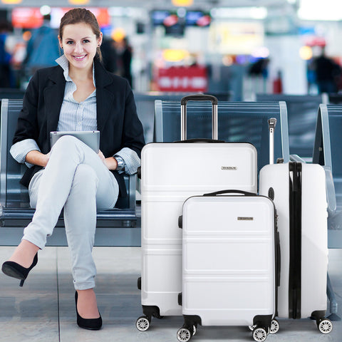 "Wanderlite 3pc Luggage Set 20"", 24"" and 28"" - White"