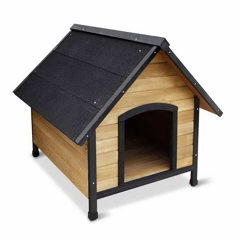 Wooden Dog Kennel Black - Medium
