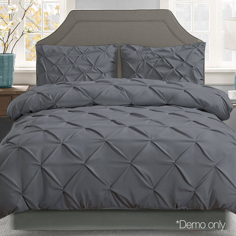 Super King 3-piece Quilt Set - Charcoal