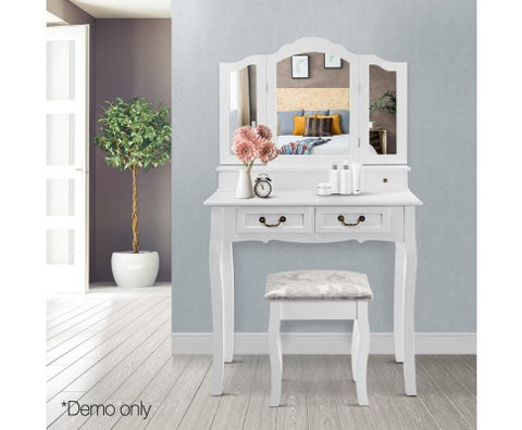 Luxury 4 Drawer Dressing Table with Mirror - White