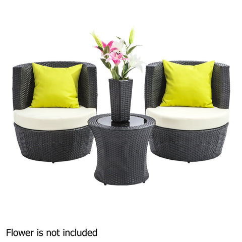 Stackable 4 pcs Black Wicker Rattan 2 Seater Outdoor Furniture Set