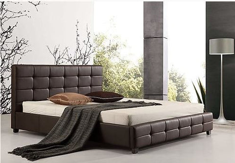 Palermo PU Leather King Bed Frame and Button Tufted Headboard - Brown