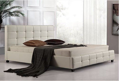 Palermo PU Leather King Bed Frame and Button Tufted Headboard - White
