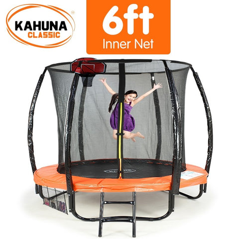 Kahuna 6FT Trampoline With Basketball Set - Orange
