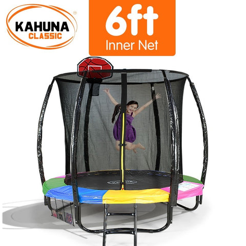 Kahuna 6FT Trampoline With Basketball Set - Rainbow