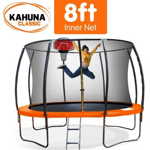 Kahuna 8FT Trampoline With Basketball Set - Orange