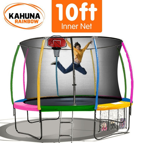 Kahuna 10FT Trampoline With Basketball Set - Rainbow
