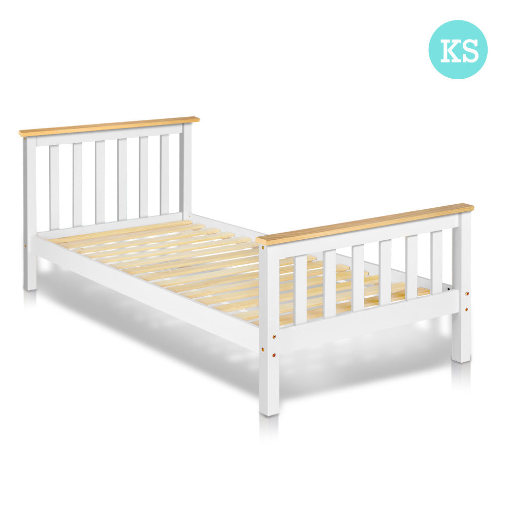 Pine wood king single size bed frame handy homewares for Wood bed frames for king size beds