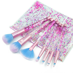 NUDEBEAUTY™ Aquarium Liquid Glitter Makeup Brush Set & Pouch - Store One Way