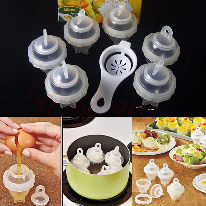 7Pcs/Set Egg Cooker + 1 White Egg Separator