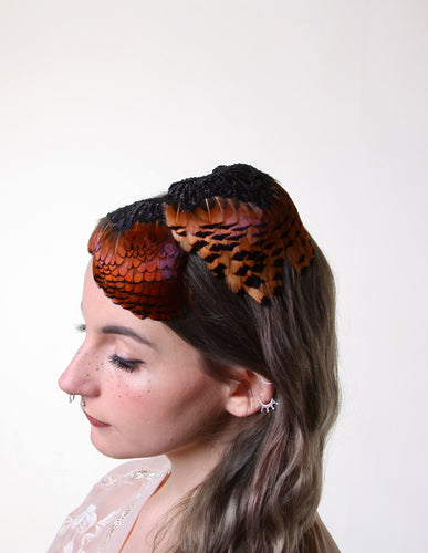 In Full Plume Plum and burnt tangerine feathered headpiece, fascinator or statement hair accessory