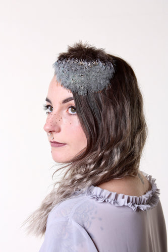 In Full Plume Soft grey and turquoise feathered headpiece, fascinator or statement hair accessory