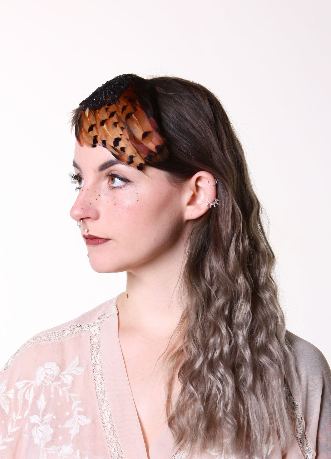 In Full Plume Amber feathered headpiece, fascinator or statement hair accessory