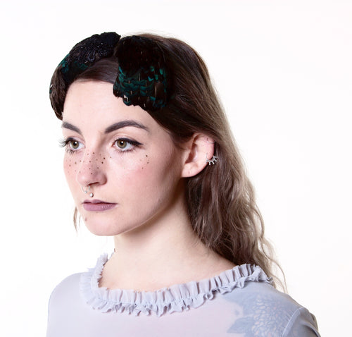 In Full Plume Teal feathered headpiece, fascinator or statement hair accessory