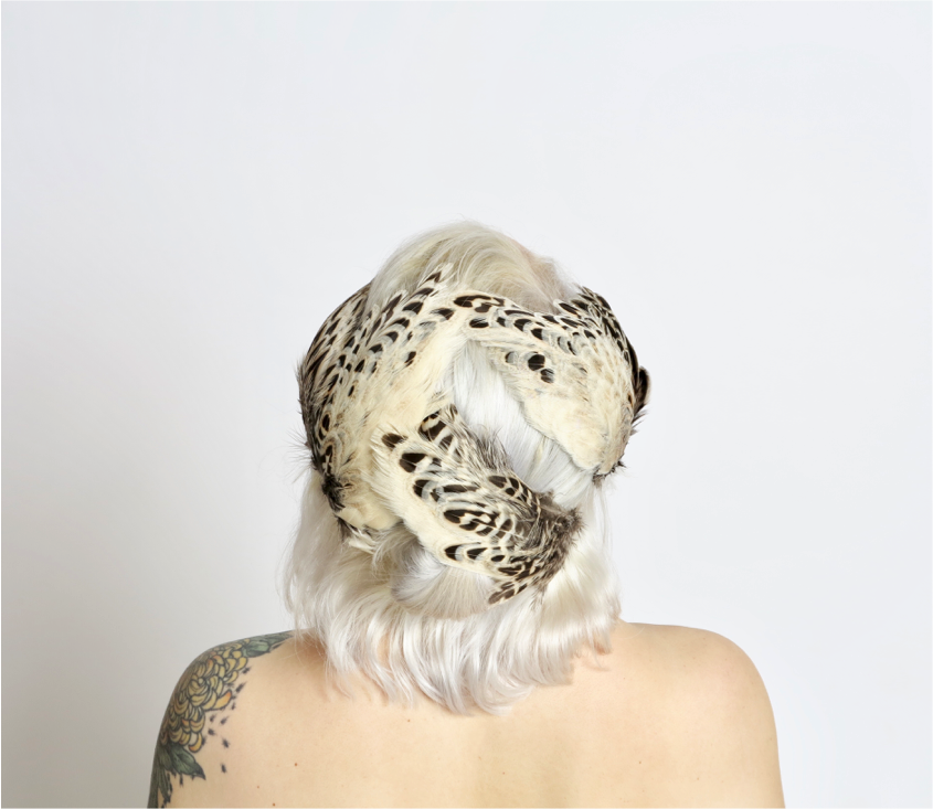In Full Plume Cream and mocha feathered headpiece, fascinator or statement hair accessory
