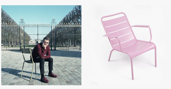 Designer Frederic Sofia pictured on a Fermob Luxembourg Chair in front of the Jardin du Luxembourg