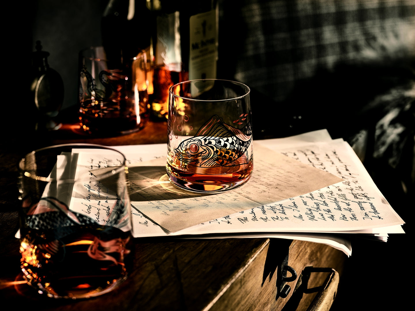 RITZENHOFF Glassware, made in Germany by the leading Glassware Manufacturer.   Pictured are two Whisky tumblers, made by RITZENHOFF. Pictured on some reading notes with Whisky ready to drink inside!