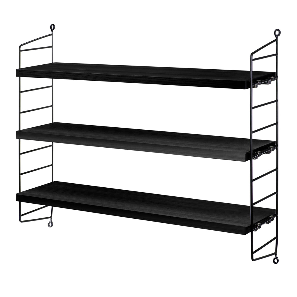 String Pocket Shelving with 3 Black-Stained Ash Shelves and 2 Black String Panels