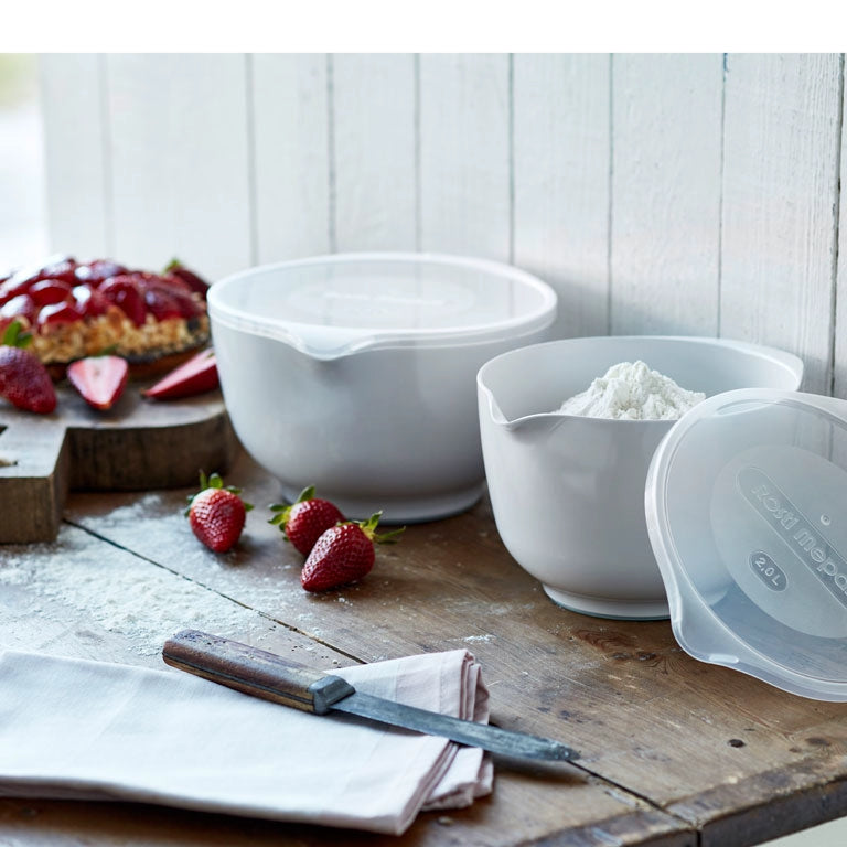 Rosti | Margrethe Mixing Bowl Set | 1.5L + 2L + 3L Bowls with FREE Lid Covers | White