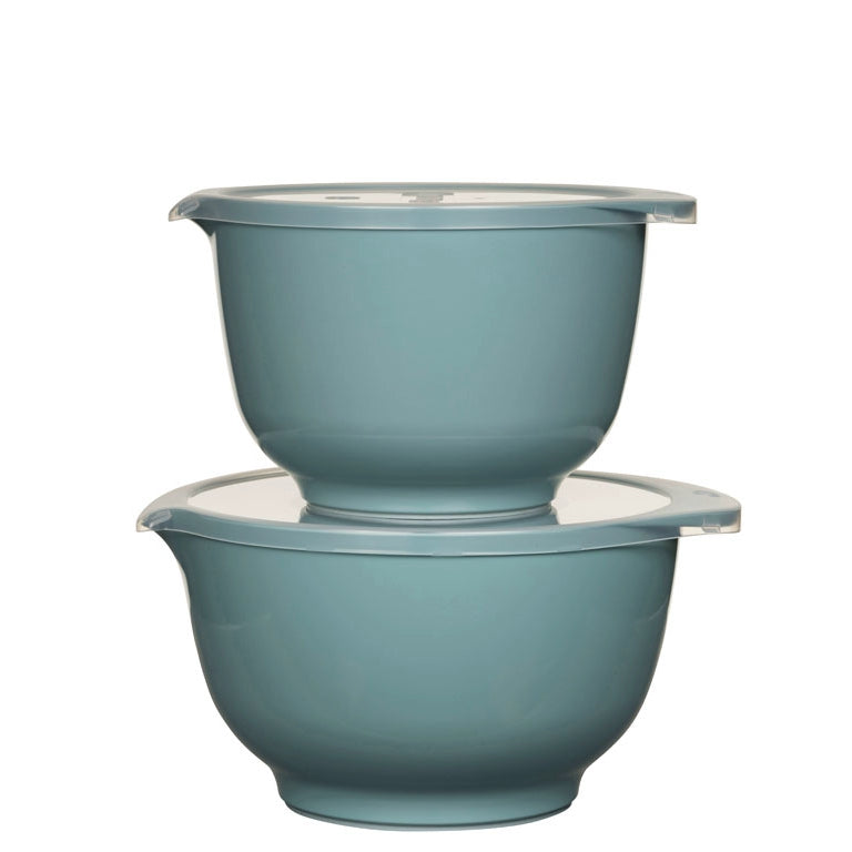 Rosti Margrethe Mixing Bowl Set | 2L + 3L Bowls with FREE Lid Covers | Nordic Green